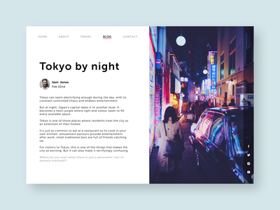Daily UI 035 - Blog clean web ui dailyui interface design neon japan tokyo travel blog ui challenge ui design daily ui challenge daily ui 035 035