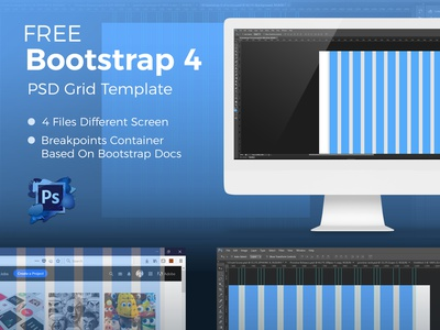 Bootstrap 4 - PSD Grid System web mockups ux ui mockup psd website web design grid system bootstrap 4