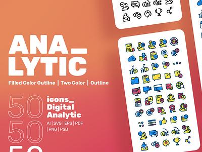 Digan - Digital Analytic Icon Set adobe xd flat icon app web design and development logo designer logo icon designer icon set design bootstrap 4 website web mockups web design ux ui