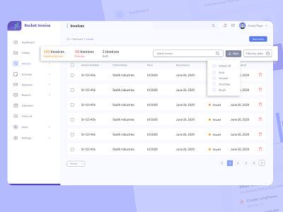 Rocket Invoices - Invoice Lists invoice maker invoices design bootstrap 4 website web design web ui ux