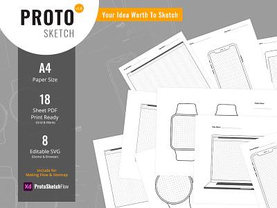 ProtoSketch - Printable Prototype Wireframe Design adobe xd web design and development bootstrap 4 design web mockups website web design ux ui