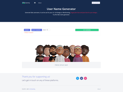 UX Dummy - User Interface Name Generator ux  ui user interface corporate adobe xd ui web web design and development design bootstrap 4 mockups website web design ux