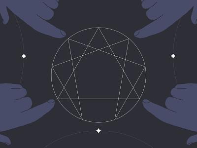 Enneagram brushes geometry hands symbol