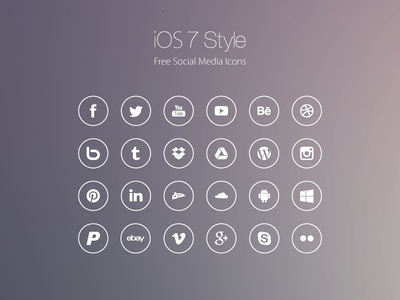 Freebie: iOS7 Style Social Media Icons ios free freebie social media icons simple line line icons vector psd psddd