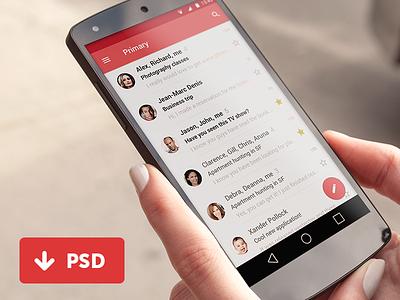 Material Gmail User Interface / FREE PSD freebie free psd givaway android l gmail ux ui user interface app material desig psddd