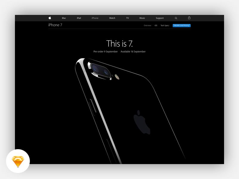 iPhone 7 Landing Page Freebie simple minimal ios10 design apple iphone 7 sketch freebie free ios iphone