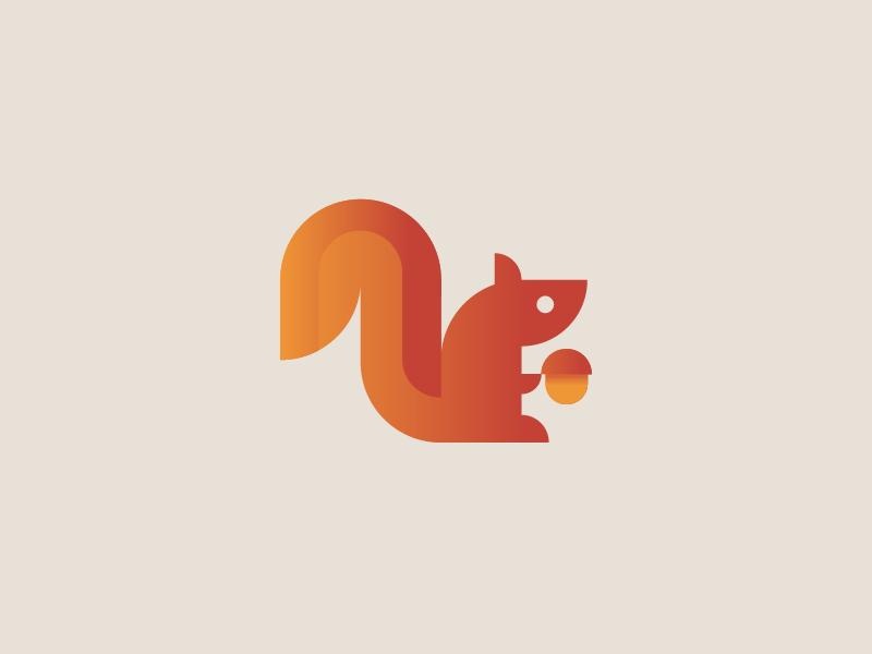 Squirrel abstract nut logo icon grid golden ratio geometric flat brand squirrel animal mark