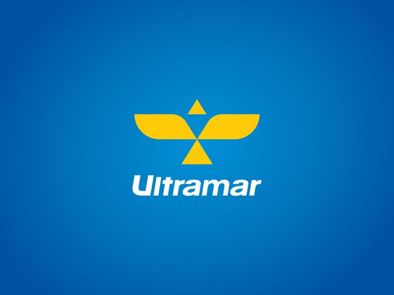 Ultramar - Just for fun transportation transport car station gas petrol sky fly grid fictive rebrand ultramar abstract blue yellow eagle bird logo