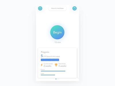 Meditation App clean white mobile ios dashboard visualization data tracker mindfullness meditation