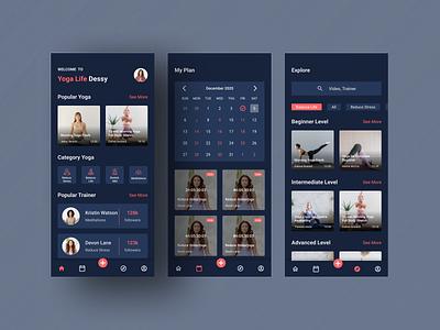 Yoga App Dark Mode dark app dark theme dark mode uiux uiuxdesign uxdesign uidesign user experience userinterface ux ui yoga app