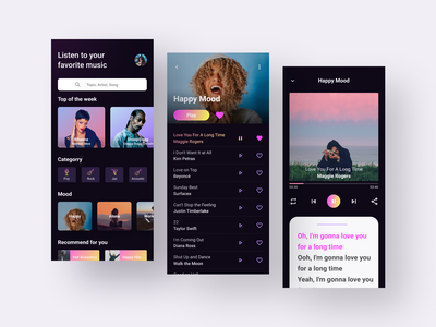Music App music application music app design music app ui music player music design uiuxdesign clean ui uiux ux ui ux design ui design