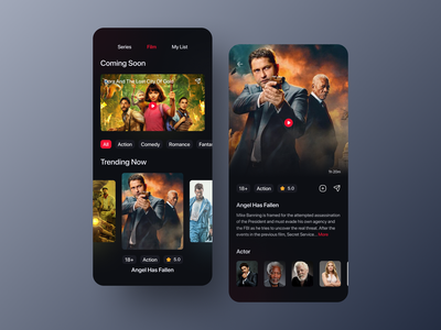 Movie Streaming App clean ui mobile app dark ui uiuxdesign ux design ui design dark theme dark mode dark app movie streaming netflix streaming app uiux movie app clean design movies