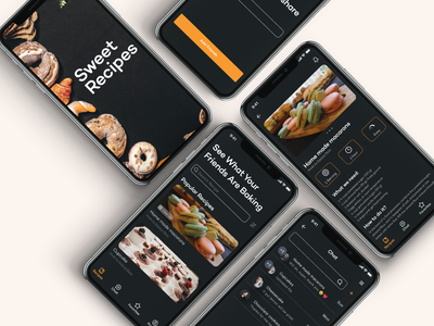 Cakes Recipes App Concept sweets recipes cakes concept mobile app