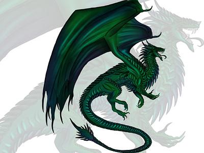 Warrior Dragon color drawing toxic green dragon procreate illustration