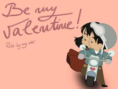 Be My Valentine Rider rider valentine moto color drawing procreate illustration