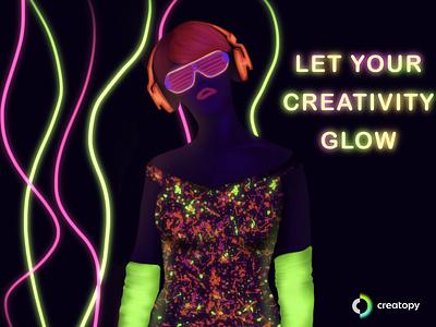Electric colors colorful creative design digital illustration creatopy creativity woman illustration digital art glow beauty illustration color drawing procreate