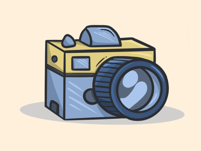 camera digital art geometric nobrand light shadow shapes lovely fun cute illustration photo yellow blue cute icon illustration