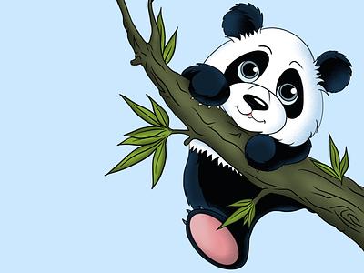 Cute panda cuteanimal climb tree animal cute panda digital digitalart art ipadpro color shadow light drawing procreate illustration