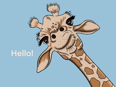 Hello dear friends! cute animal digitalart color light digital illustration ipadpro shadow drawing procreate illustration cute hello giraffe