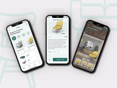 AR Furniture Shop app chair camera categories ui shop furniture ar mobile