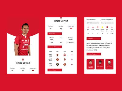 Football Player Profile design user interface user experience daily ui dailyui red figma uxui ux uidesign uiux ui user profiles profile player soccer football