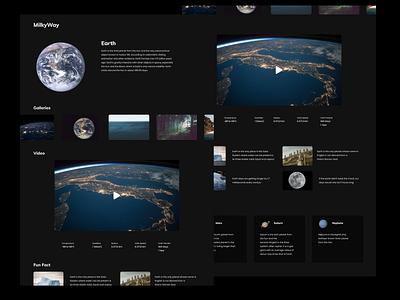 Space Information Website black interface web design earth astronaut space desain template uxui ui design website web ux user interface user experience uiux uidesign ui figma design