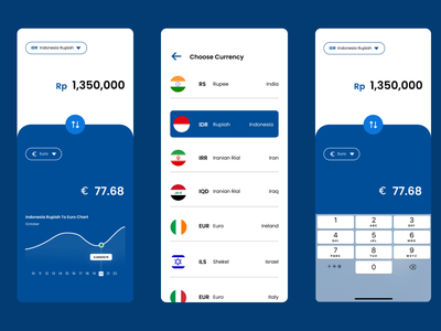 Currency Converter Design Exploration currency exchange currency converter converter currency money blue ios android iphone app website web ux user interface user experience uiux uidesign ui figma design