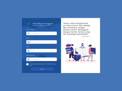 Sign Up User Interface For Library Member web ux form design uidesign figma user experience design user experience ux website design website sign up signup library user experience user interface userinterface uiux ui