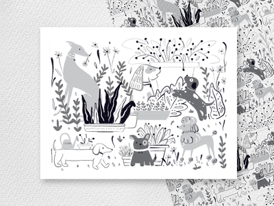 Dog lover dog illustration greyhound garden nature plants black and white pattern dogs dog design animal illustration