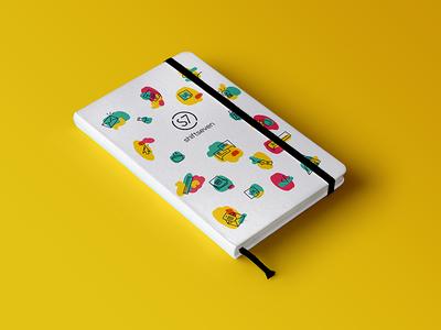 S7 notebook  digital talk color spot notebook illustration branding brand shift seven shiftseven
