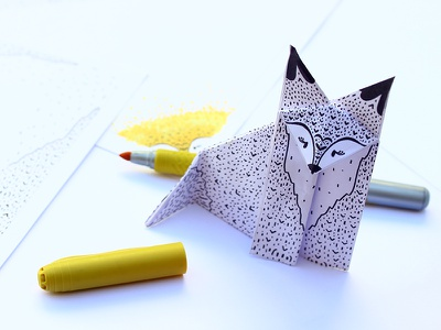 Ilustrated Origami Series print paper white black paint fox animals illustration origami series