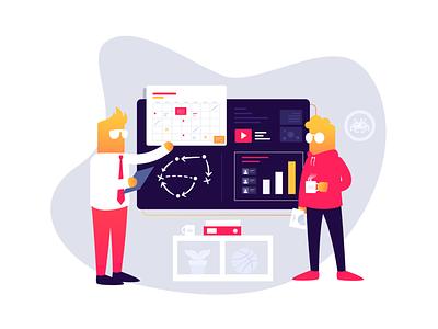 Levelup platform planning socialmedia flat character vector illustration