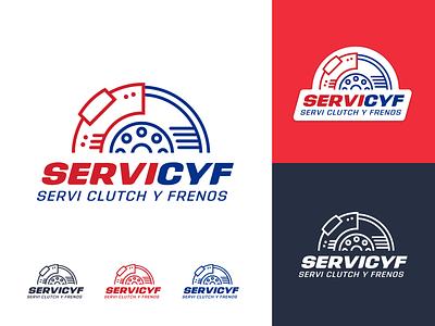 SERVICYF logo desing branding blue red brakes clutch logotype logo