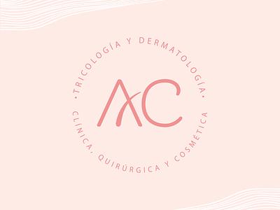 AC Logo graphic design pink flat dermatology hair branding logo