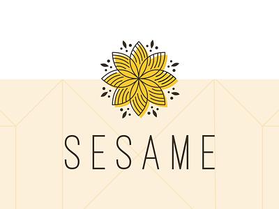 Sesame Logo design flat yellow seasoning sesame graphic design logo branding