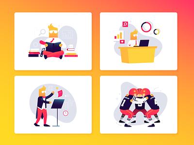 Levelup illustrations design branding character flat illustration vector