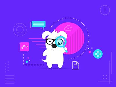 Hello Woofy! flat dog socialmedia character vector illustration