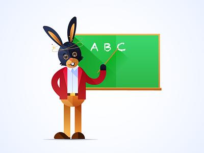 A rabbit character flat vector illustration