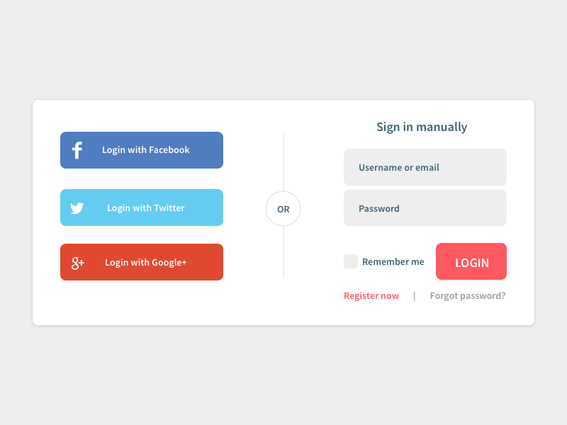 Social login widget sketch login social facebook twitter google free ui download