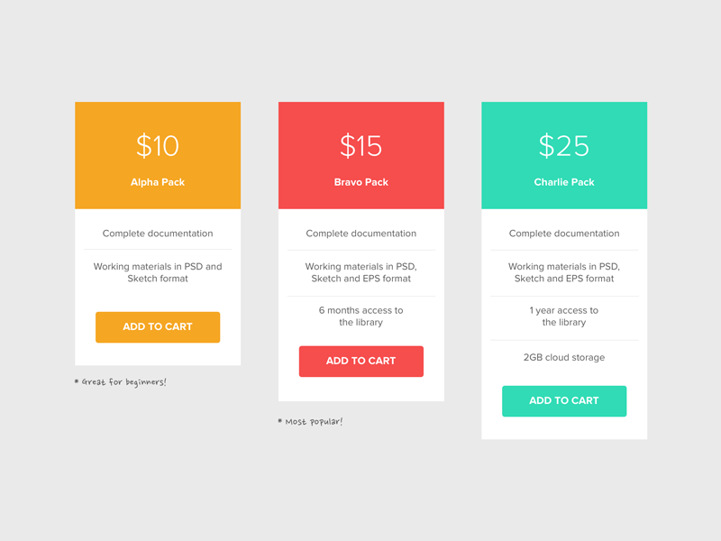 Pricing Table pricing table sketch freebie simple minimalist ui element