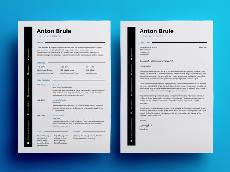 Anton resume interview job career simple clean template cv resume