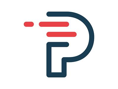 P for Projectile #3 line letter logotype branding mark logo motion projectile p