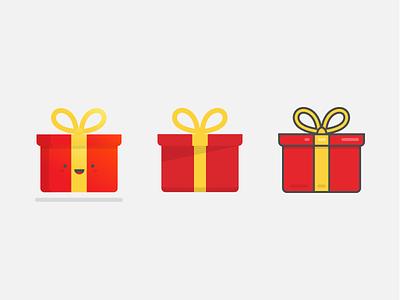 Gift Box ribbon face cute outline illustration flat reward present box gift