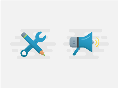 Customize + Campaign wrench pencil megaphone blue features concept icon graphic illustration