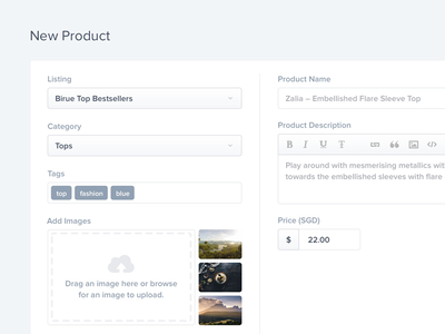 Add New Product UI ecommerce e-commerce tags field form ui dashboard product upload wizard