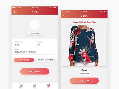 Profile + Explore app mobile commerce fashion shadow gradient clean form edit explore profile ui