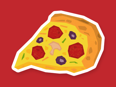 A slice of pizza mushroom olive food poly cheese slice beef pepperoni sticker vinny stickermule pizza