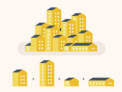 Flat Map Kit simple block apartment build location house building illustration kit map vector flat