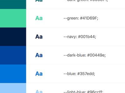 Color Palette css systems palette colors styleguide