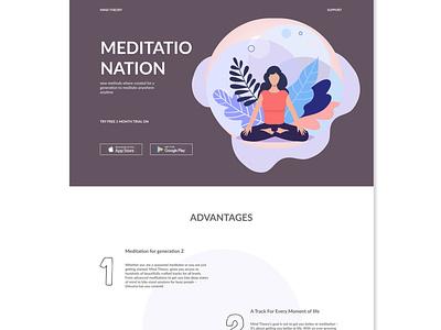 Challenge/ day 1/ meditation website design ux ui figma design figma website web graphic vector